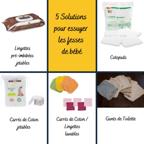Solutions pour laver fesses de bébé